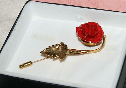 Red Wild Rose Bud Pin